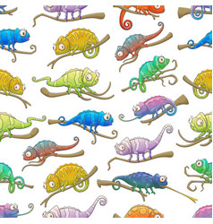 Chameleon lizard animals seamless pattern vector