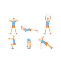 cheerful senior man doing morning exercises vector image