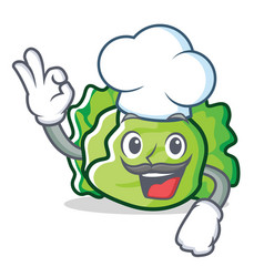 Chef lettuce character cartoon style vector