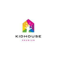 child children hand reach stars kid house logo vector image