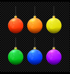 christmas ball set isolated on dark vector image