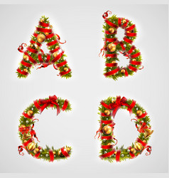 christmas font four letters abcd of christmas vector image
