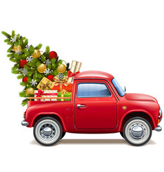 christmas red pickup vector image