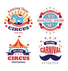 circus show and carnival party isolated icons vector image