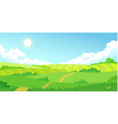 colorful summer bright fields landscape green vector image