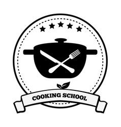 Cooking school emblem pretty vector