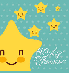 cute kawaii stars dots background baby shower card vector image