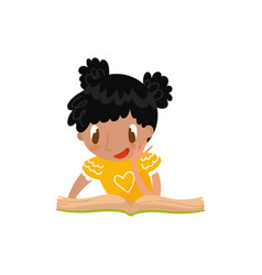 cute little girl sitting on the floor and reading vector image