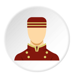 Doorman in red uniform icon circle vector