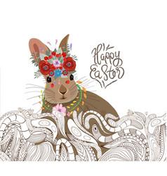 Easter rabbit doodle floral ornament background vector