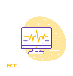 ecg heart diagnostics icon vector image