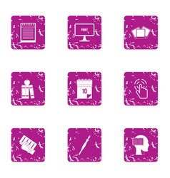 educational resource icons set grunge style vector image