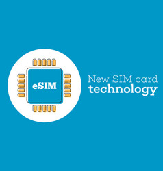 Esim card chip sign in flat style vector