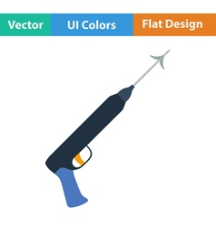 Flat design icon of Fishing speargun vector image