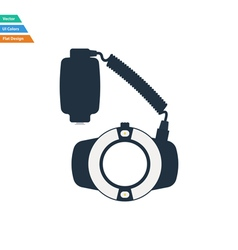 Flat design icon of portable circle macro flash vector image