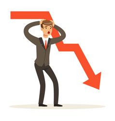 Frustrated businessman character and red graph vector