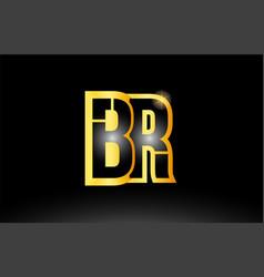 Gold black alphabet letter br b r logo vector