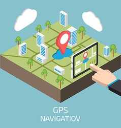 GPS isometric with hand and tablet vector image