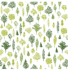 Green tree ink green hand drawn pattern seamless vector
