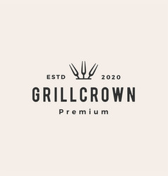 grill crown king fork hipster vintage logo icon vector image