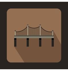 Iron bridge icon flat style vector
