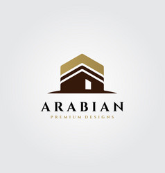 Kaaba logo islamic symbol design vector