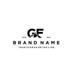 Letter gf mountain logo design vector