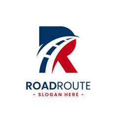 Letter r for road route logo design template vector