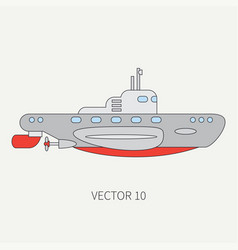 Line flat color icon naval submarine vector