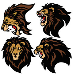 Lion head logo set sport esport mascot vector