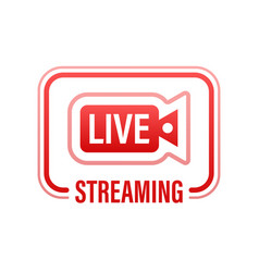 Live streaming flat logo - red design vector