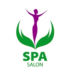 Logo girl on the leaves for spa salon vector