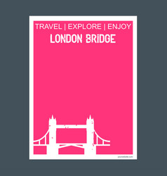London bridge uk monument landmark brochure flat vector