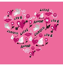 Love symbols heart shape vector image