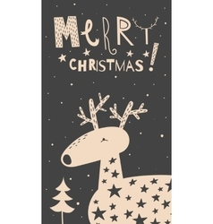 Merry Christmas deer card vector image