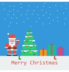 Merry christmas poster flat pixel art vector