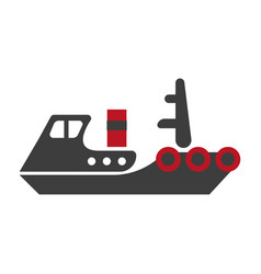 Minimalistic flat schematic ship isolated black vector