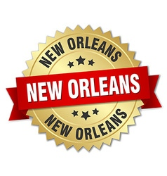 New Orleans round golden badge with red ribbon vector image