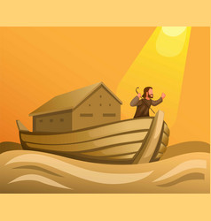 Noah in ark in great flood biblical scene vector