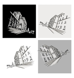 Old district sketch with city road for your design vector