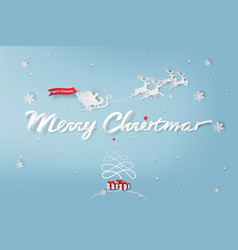paper art of merry christmas day vector image