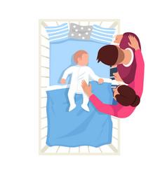 Parent watch infant sleep semi flat rgb color vector