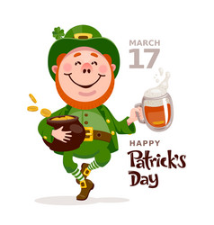 Patricks day poster with leprechaun dancing with a vector