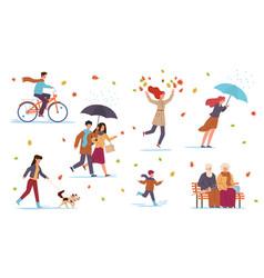People in fall season guys in autumn vector
