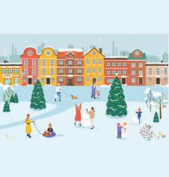 People walk in park in winter vector