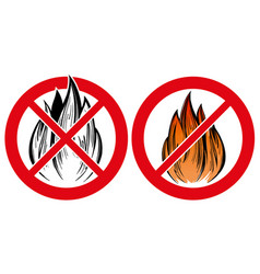 prohibiting sign no fire emblem hand drawn vector image