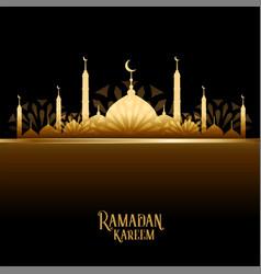 Ramadan kareem golden mosque design card vector