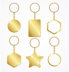 realistic detailed 3d empty template keychain set vector image