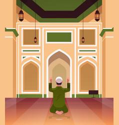 Religious muslim man kneeling and praying inside vector