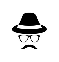 retro gentleman icon with glasses hat and vector image vector image